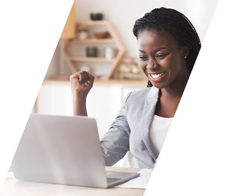 Happy women working with a computer